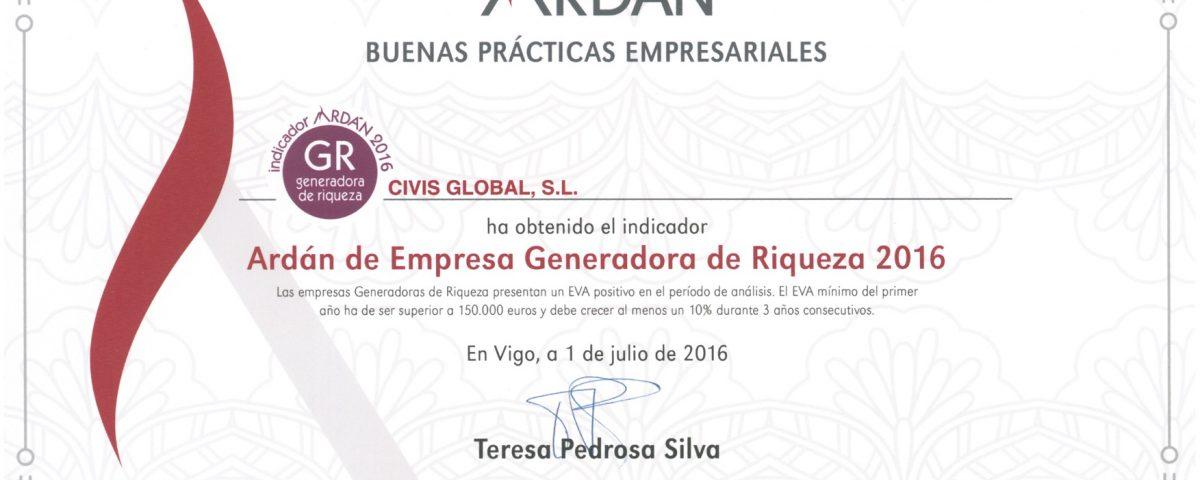 Certificación de Civis Global como empresa generadora de riqueza