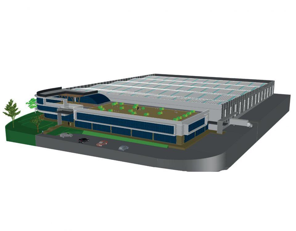 Infografía del proyecto de la planta industrial que Civis Global construye para Ecoforest en Porto de Molle (Nigrán).